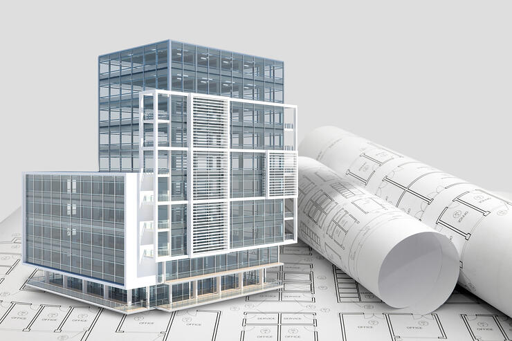 3D building image on top of blue prints