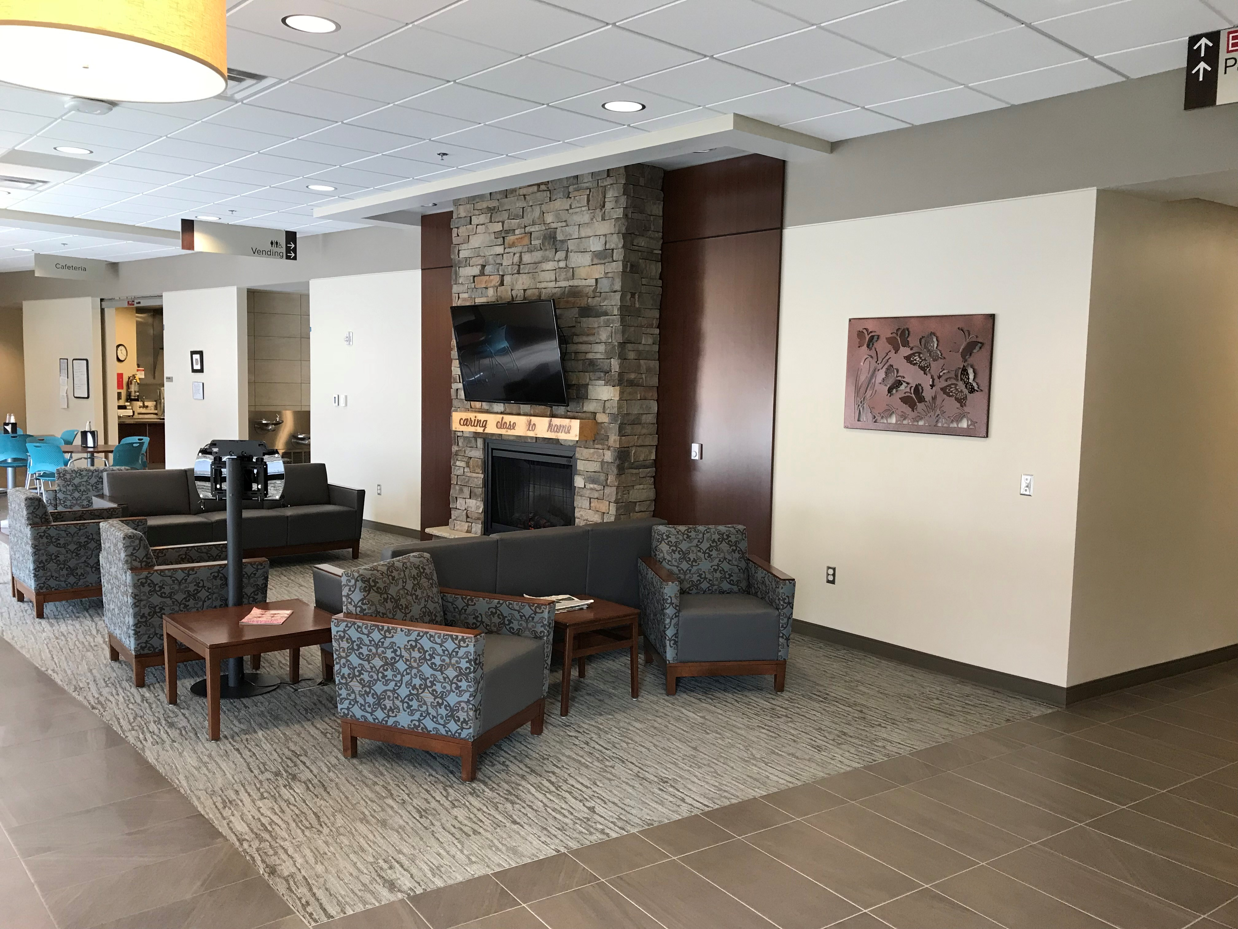 Hawarden Regional Healthcare facility waiting area and fireplace
